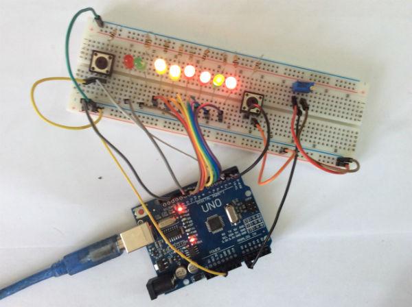 Индикатор времени нажатия кнопки arduino