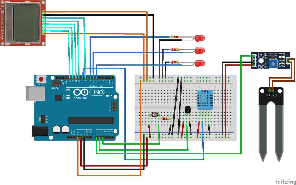 """Схема соединения для мониторинга параметров для проекта на Arduino """"Домашний цветок """""""